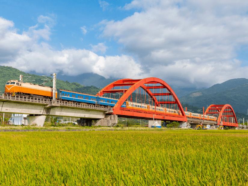 Taiwan train crossing Kecheng Iron bridge in Yuli, Hualien