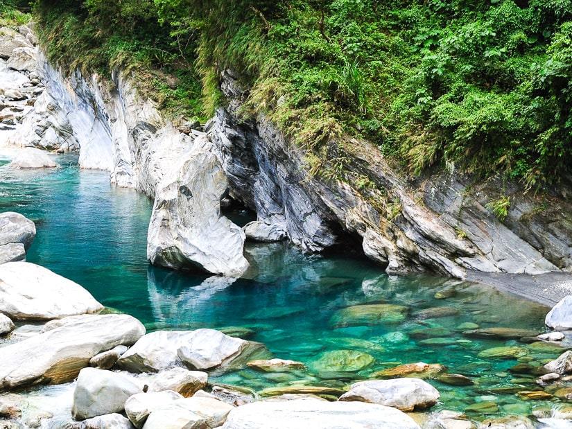Beautiful blue green water at Mukumugi in Hualien