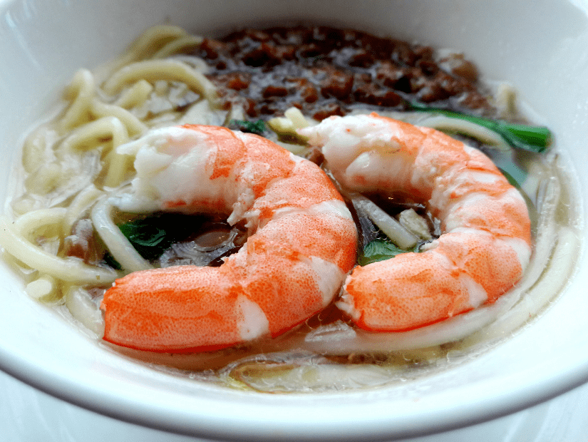 Danzai Noodles with shrimp on top, a common Southern Taiwanese food specialty