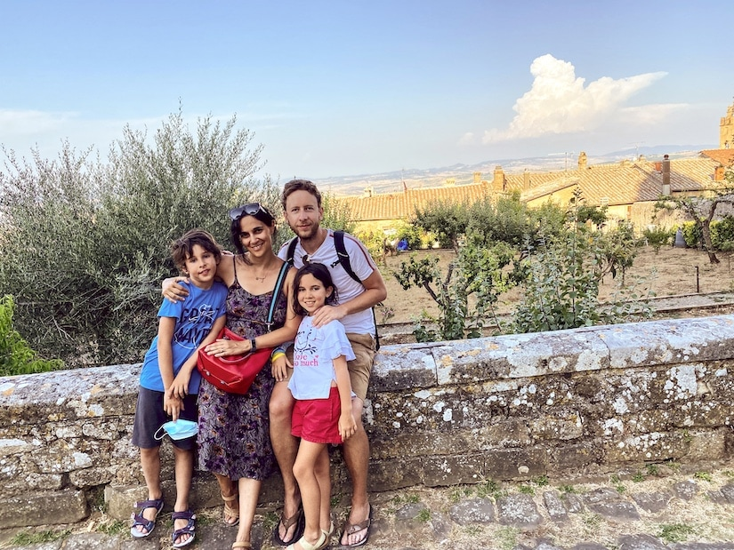 A family of travelers in Tuscany, Italy