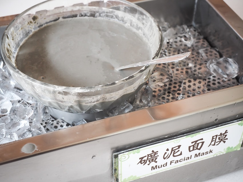 Bowl of mud for rubbing on your face in the hot spring facility