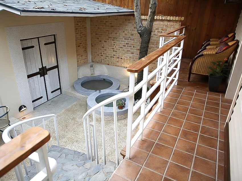 Private hot spring at King's Garden Villa in Guanziling, Tainan