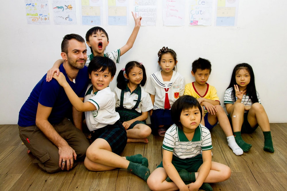 Me teaching English in Taipei, Taiwan