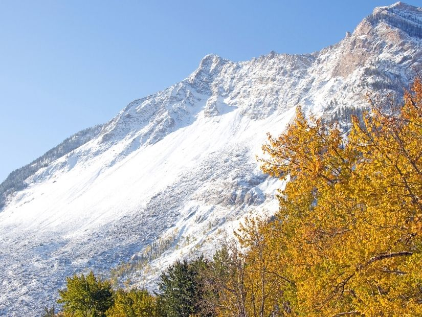 Frank Slide, Alberta with fall foliage in the foreground