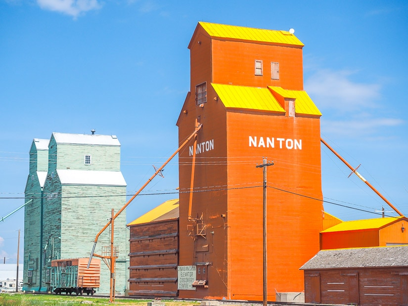 Colorful grain elevators, one of the most iconic things to see in Alberta