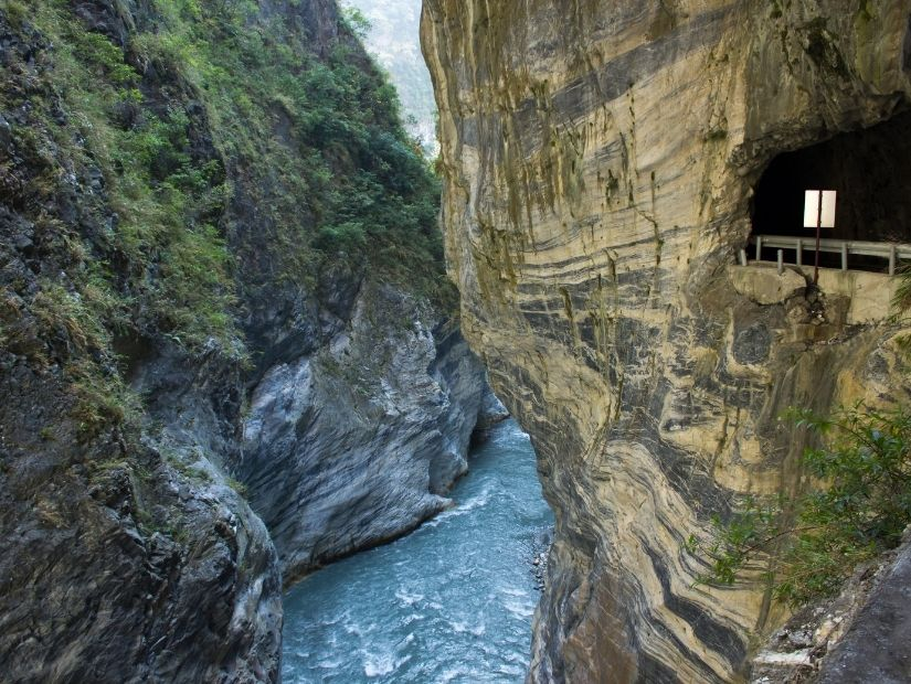 View of the tunnel of nine turns in Taroko National Park