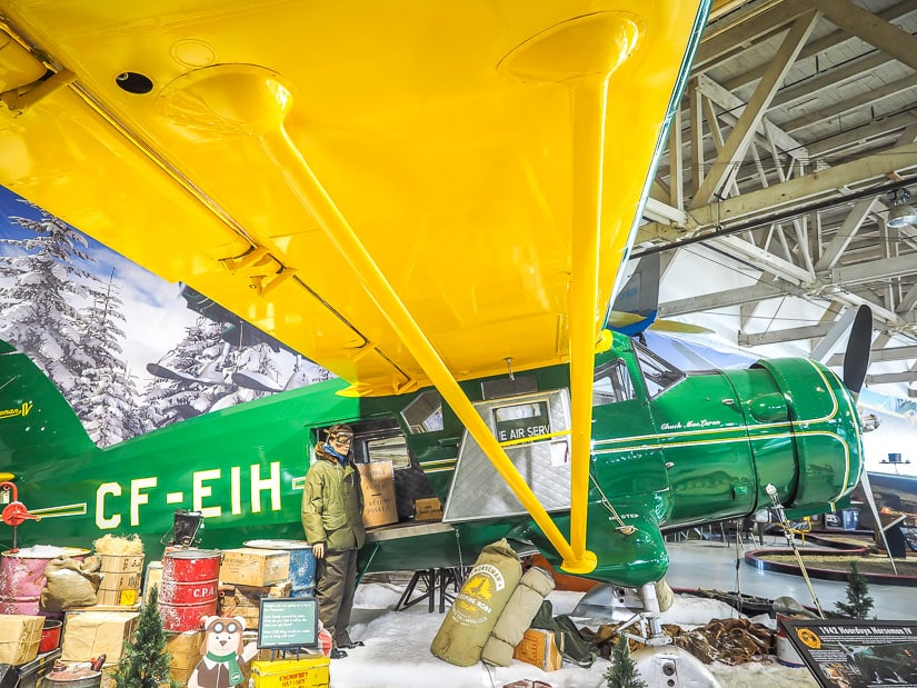 Airplane display in the Alberta Aviation Museum