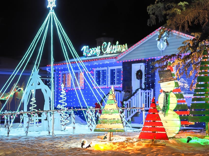 House with Christmas lights on Candy Cane Lane in Edmonton