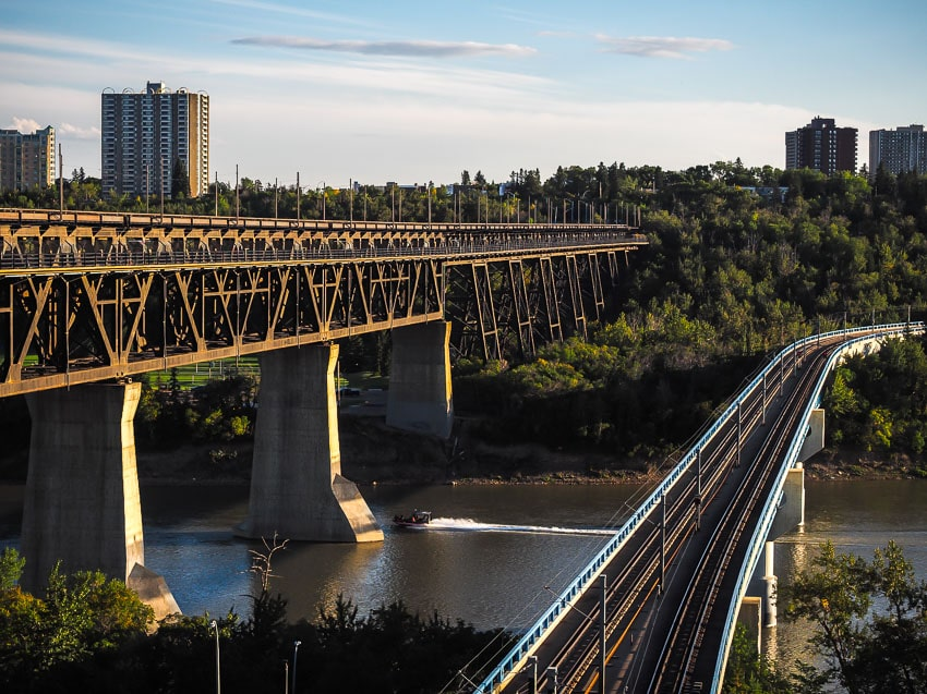 View of the High Level and LRT Bridge from Constable Ezio Farone Park
