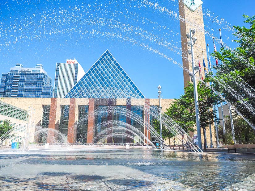 Water fountains spraying in front of Edmonton City Hall