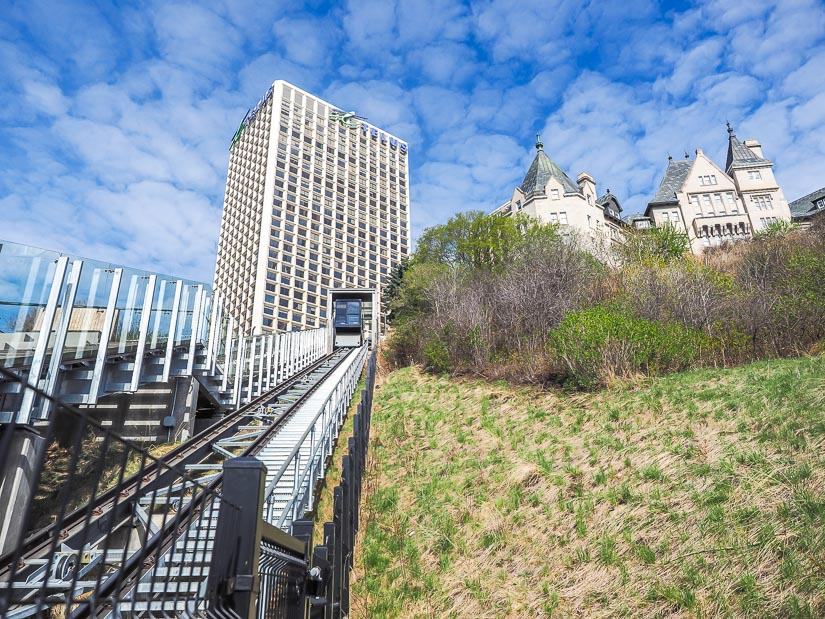 Edmonton Funicular with Hotel Macdonald in background