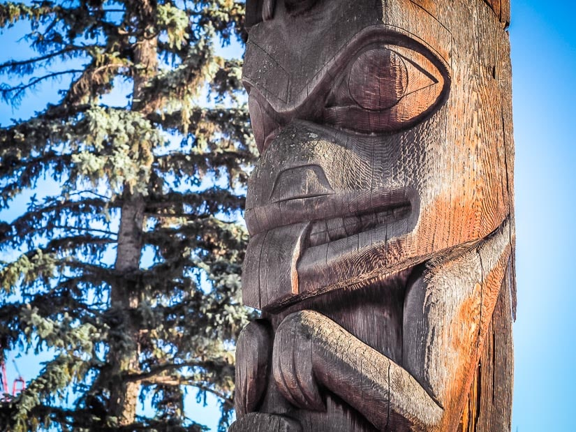 An indigenous totem pole at Government House