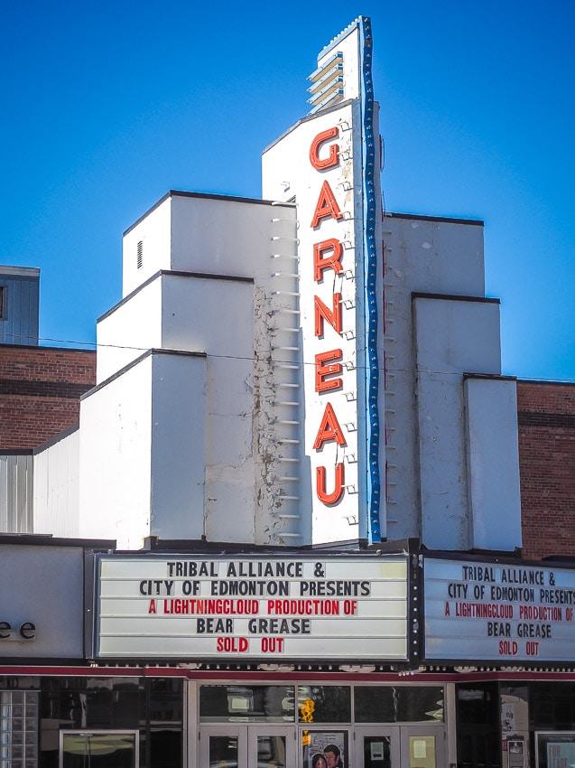 Billboard of Garneau Theatre in Edmonton