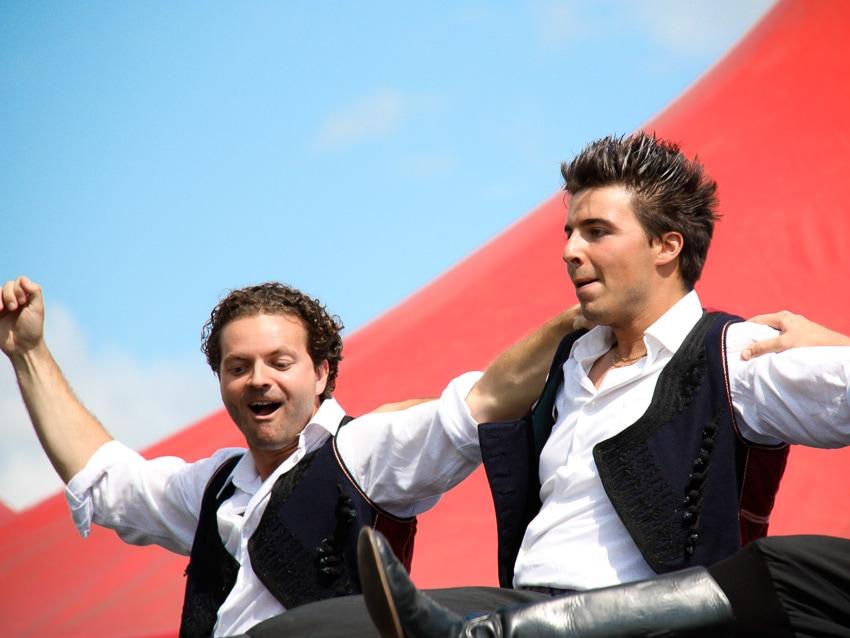 Two Greek men performing at the Edmonton Heritage Festival