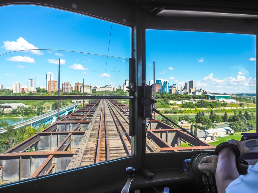 View of Edmonton downtown from the front window of the High Level Bridge Streetcar