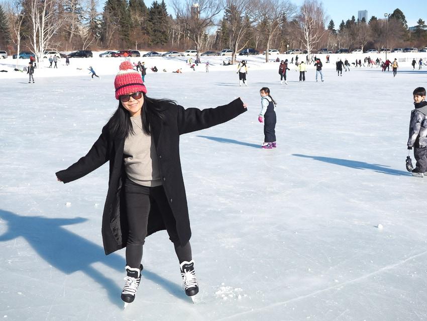 A woman ice skating at Hawrelak Park in Edmonton