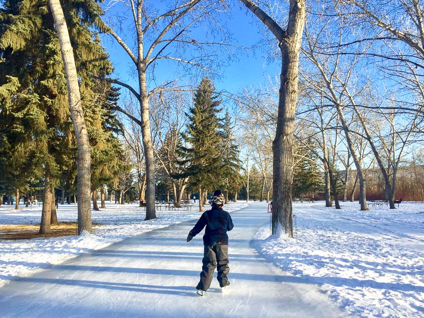 A boy skating on an ice path at Rundle Park