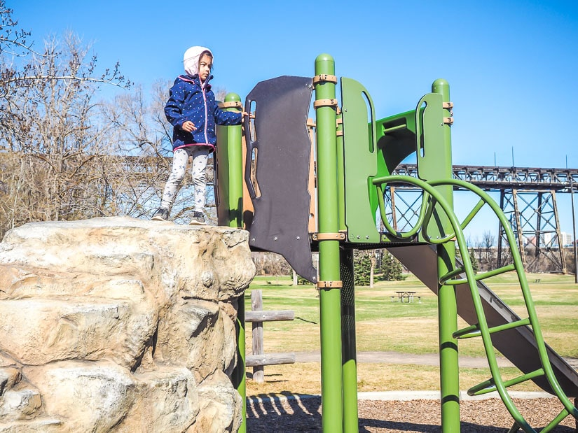 Kid playing in Kinsmen Park Edmonton