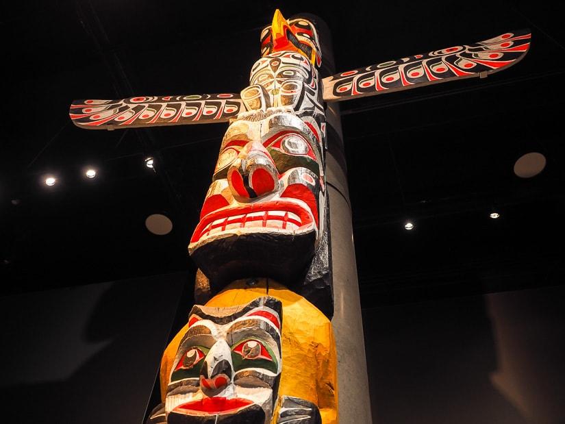 Totem pole in the Royal Alberta Museum
