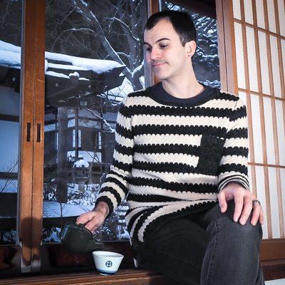Nick Kembel of Spiritual Travels pouring tea in Japan
